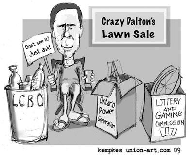 'Crazy Dalton's Lawn Sale' - cartoon by Kempkes.