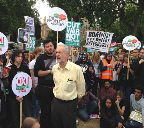 Jeremy Corbyn speaking at a rally.