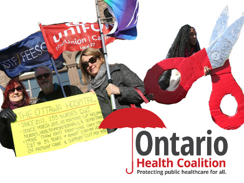 Ontario Health Coalition activists supporting public healthcare.