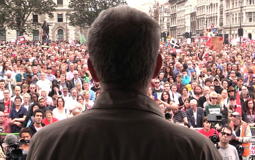 British Labour Party leader Jeremy Corbyn speaking at a rally.