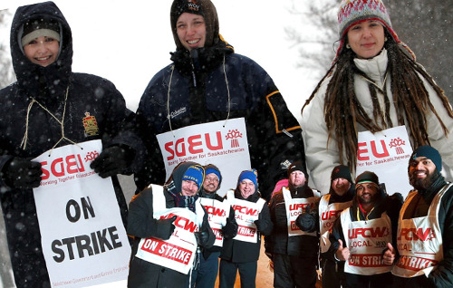 Saskatchewan workers on strike.