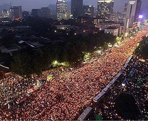 South Korea's historic candle light protest