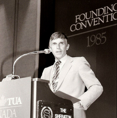 Bob White at CAW founding convention 1985